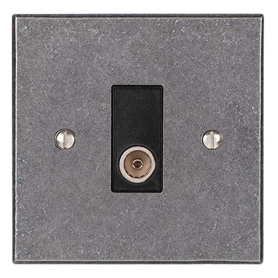 TV Co-axial Outlet Polished Bevelled Plate, Black Insert