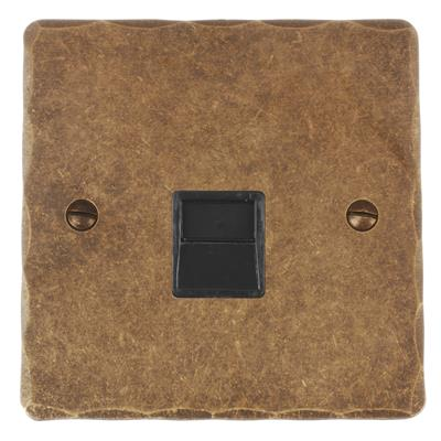 Master Telephone Socket Antiqued Brass HammeredPlate, Black Insert