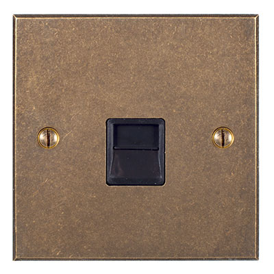 Master Telephone Socket Antiqued Brass Bevelled Plate, Black Insert