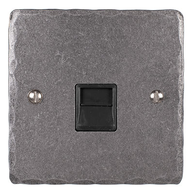 Master Telephone Socket Polished Hammered Plate, Black Insert