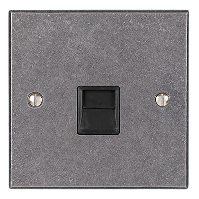 Master Telephone Socket Polished Bevelled Plate, Black Insert
