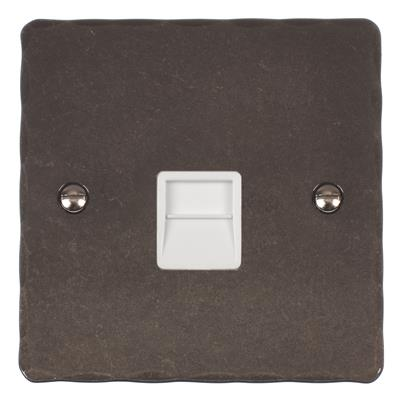 Master Telephone Socket Polished Hammered Plate,White Insert