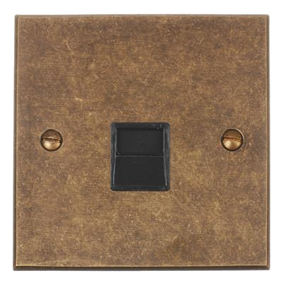 Secondary Telephone Socket Antiqued BrassBevelled Plate, Black Insert