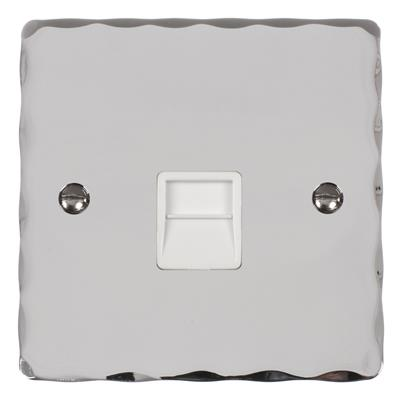 Secondary Telephone Socket Nickel Hammered Plate, White Insert