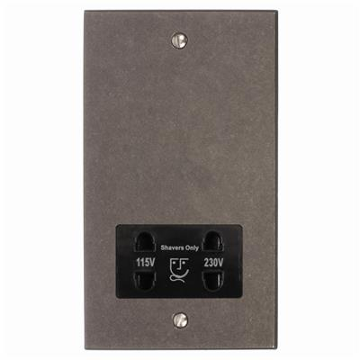 Shaver Socket Polished Bevelled Plate, Black Insert