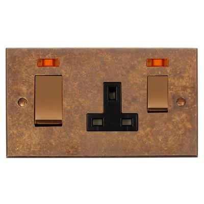 45amp Cooker Socket Antiqued Brass Bevelled Plate, Brass/Black Insert