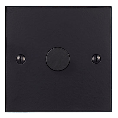 1 Gang Rotary Dimmer Matt Black Bevelled Plate