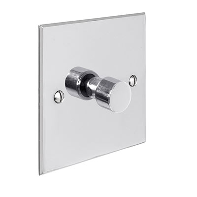 1 Gang Rotary Dimmer Nickel Bevelled Plate