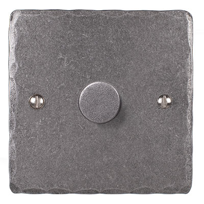 1 Gang Rotary Dimmer Polished Hammered Plate