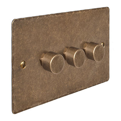 3 Gang Rotary Dimmer Antiqued Brass Hammered Plate