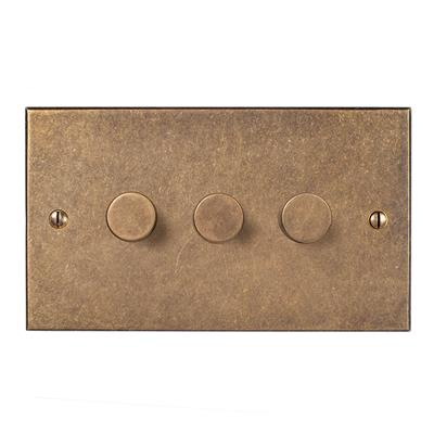 3 Gang Rotary Dimmer Antiqued BrassBevelled Plate