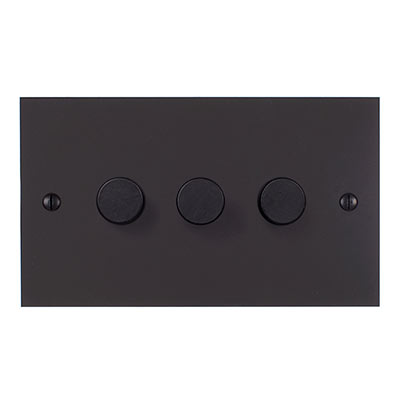 3 Gang Rotary Dimmer Beeswax Bevelled Plate
