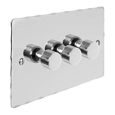 3 Gang Rotary Dimmer Nickel Hammered Plate