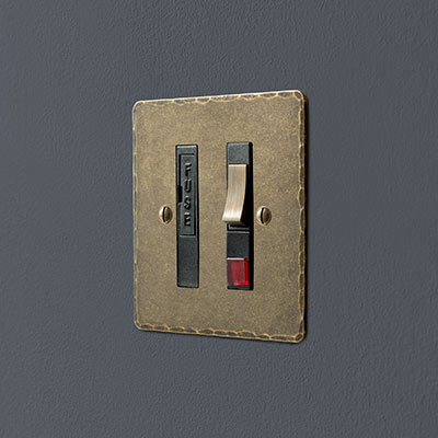 Fused Switch + Neon Antiqued Brass Hammered Plate, Brass Insert