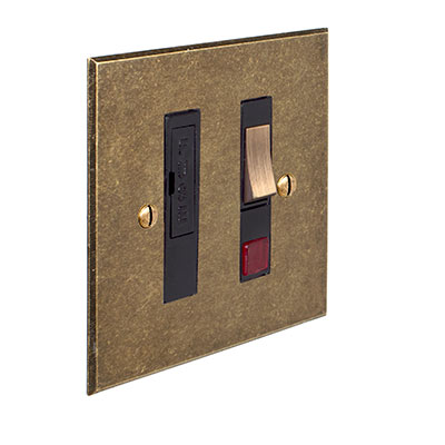 Fused Switch + Neon Antiqued Brass Bevelled Plate, Brass Insert