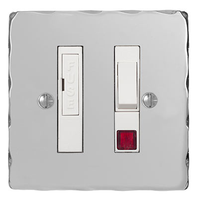 Fused Switch + Neon Nickel Hammered Plate, (discontinued, only stock shown available)