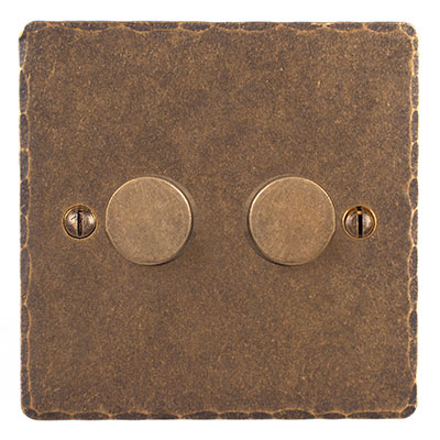 2 Gang Rotary Dimmer Antiqued Brass Hammered Plate