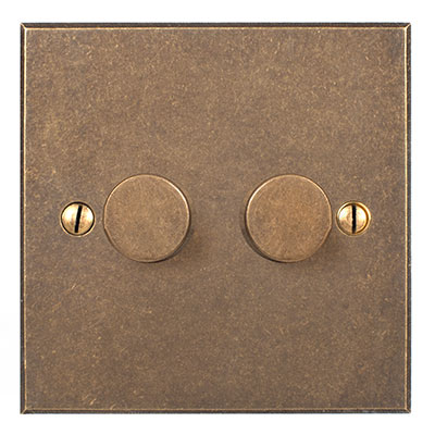 2 Gang Rotary Dimmer Antiqued Brass Bevelled Plate