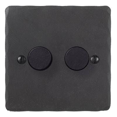 2 Gang Rotary Dimmer Beeswax Hammered Plate