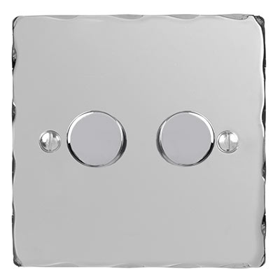 2 Gang Rotary Dimmer Nickel Hammered Plate