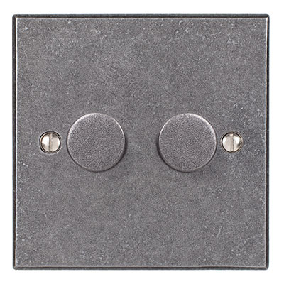 2 Gang Rotary Dimmer Polished Bevelled Plate
