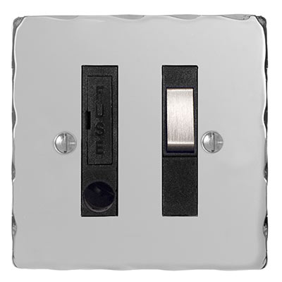 Fused Switch + Cable Outlet Nickel Hammered Plate, Steel Insert