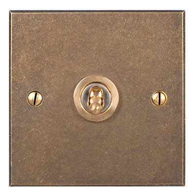 1 Gang Brass Dolly Switch Antiqued Brass BevelledPlate