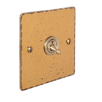 1 Gang Brass Dolly Switch Old Gold Hammered Plate