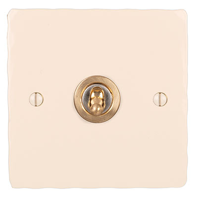 1 Gang Brass Dolly Switch Plain Ivory Hammered Plate