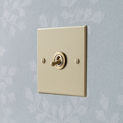 1 Gang Brass Dolly Switch Plain Ivory Bevelled Plate