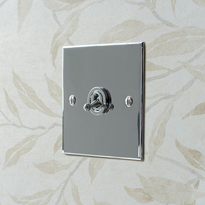 1 Gang Chrome Dolly Switch Nickel Bevelled Plate