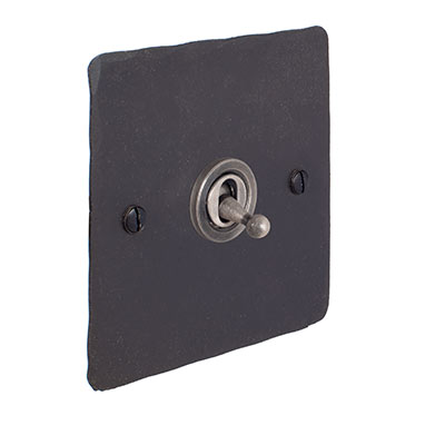 1 Gang Steel Dolly Switch Beeswax Hammered Plate