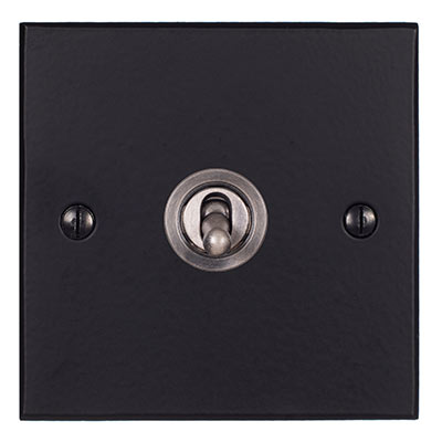 1 Gang Steel Dolly Switch Matt Black Bevelled Plate