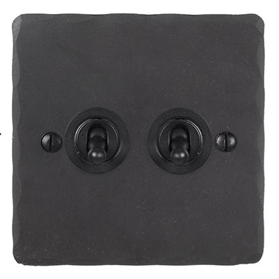 2 Gang Black Dolly Switch Beeswax Hammered Plate
