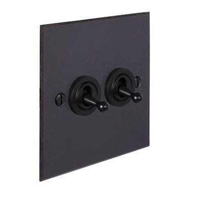 2 Gang Black Dolly Switch Beeswax Bevelled Plate