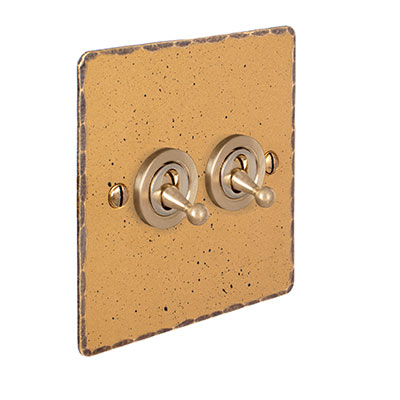 2 Gang Brass Dolly Switch Old Gold Hammered Plate