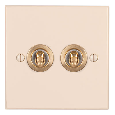 2 Gang Brass Dolly Switch Plain Ivory Bevelled Plate