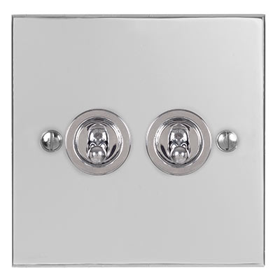 2 Gang Chrome Dolly Switch Nickel Bevelled Plate