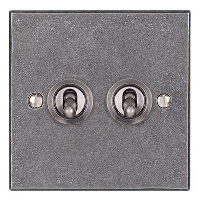 2 Gang Steel Dolly Switch Polished Bevelled Plate