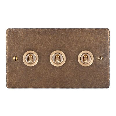 3 Gang Brass Dolly Switch Antiqued Brass Hammered Plate