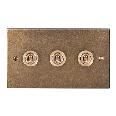 3 Gang Brass Dolly Switch Antiqued Brass Bevelled Plate