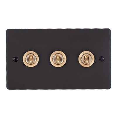 3 Gang Brass Dolly Switch Beeswax Hammered Plate