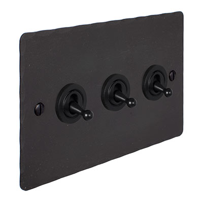 3 Gang Black Dolly Switch Beeswax Hammered Plate
