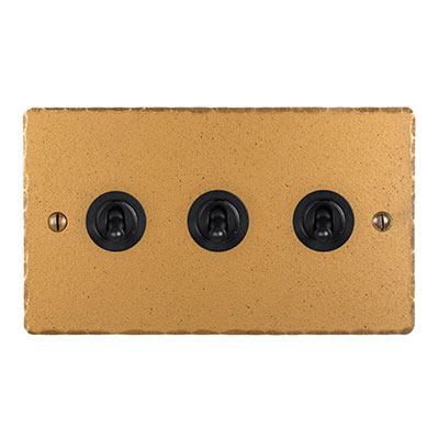 3 Gang Black Dolly Switch Old Gold Hammered(discontinued, only stock shown available)