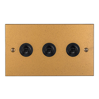 3 Gang Black Dolly Switch Old Gold Bevelled(discontinued, only stock shown available)