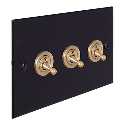 3 Gang Brass Dolly Switch Matt Black BevelledPlate