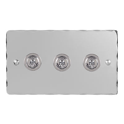 3 Gang Chrome Dolly Switch Nickel Hammered Plate