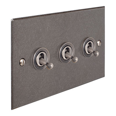 3 Gang Steel Dolly Switch Polished Bevelled Plate