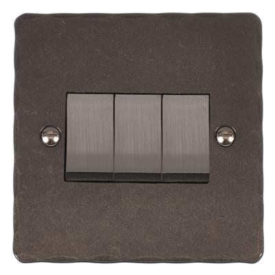 3 Gang Steel Rocker Switch Polished Hammered Plate(discontinued, only stock shown available)