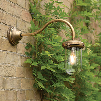 Stable Light with Flat Mounting in Antiqued Brass